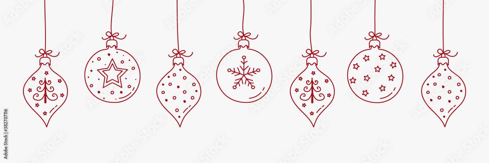 Fototapeta Christmas ball - hanging ornaments. Vector