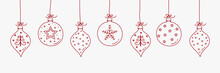 Christmas Ball - Hanging Ornaments. Vector