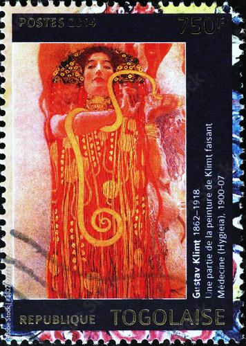 Obrazy Gustav Klimt  detail-from-medicine-by-gustav-klimt-on-postage-stamp