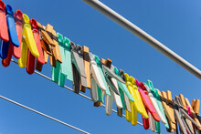 A Colored Clothes Pegs Hanging...