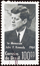 Portrait Of John Kennedy On Brazilian Postage Stamp