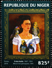 Self-portrait With Parrots By Frida Kahlo On Stamp