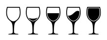 Set Wine Glass Icon From Empty To Full, Wine Glass Collection Sign – Stock Vector