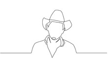 Profile Portrait Of Smiling Man In Cowboy Hat And Shirt - Continuous Line Drawing On White Background. Linear Minimal Man Face. Sun Protection Head Accessory. Cowboy Old Man Illustration