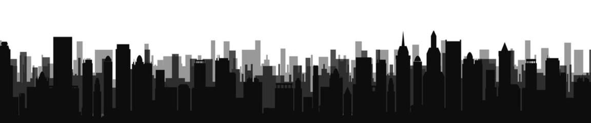 Black city silhouette skyline - stock vector