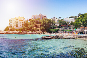 Relax beach transparent water mallorca spain