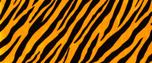Background With A Pattern Of Tiger Stripes, Tiger Color. Tiger Skin Background Or Texture.