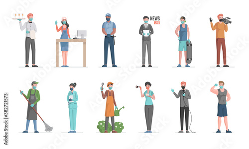 Group of people of different professions. Labor Day vector flat concept. Policeman, doctor, gardener, waiter, seller, anchorman, skater, cameraman, sportsman characters in medical masks.