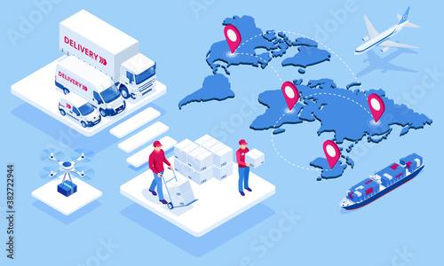 Canvas Print Global logistics network isometric illustration Icons set of air cargo trucking