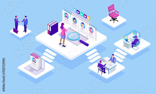 Obraz Isometric Online job search and human resource concept. Infographics of Business data visualization. Process chart. Job interview, recruitment agency vector illustration - fototapety do salonu