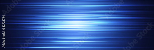 Fototapeta Blue abstract line pattern. Random horizontal stripes. Wide background. Bright center with dark parts around. Information or data transfer concept. Technology vector illustration. Thin lines obraz