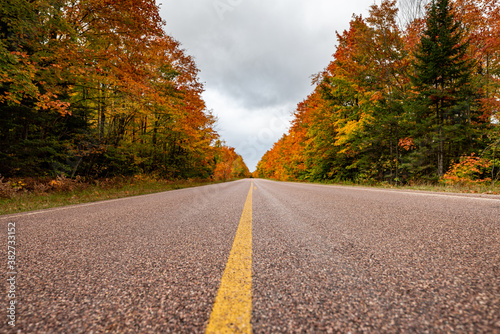 Road Trip with Fall Colors in Upper Peninsula Michigan. Wallpaper Mural
