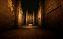 Fantasy Background Image From An Ancient Temple Inside A Cave. Thick Walls Out Of Stone And Carvings On The Walls.