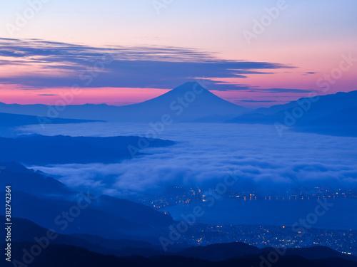 Fotografie, Obraz 高ボッチ高原から望む夜明けの富士山