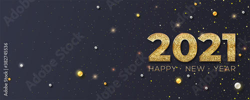 Obraz Happy New Year 2021. Glittering golden dust and pearls on black background. New years poster, headers for website. Festive vector 3D illustration. - fototapety do salonu