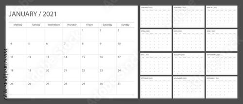 Obraz Calendar 2021 week start Monday corporate design planner template. - fototapety do salonu