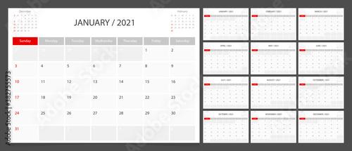 Obraz Calendar 2021 week start Sunday corporate design planner template. - fototapety do salonu