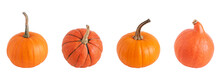 Four Different Pumpkins Isolated On White Background. Orange Ripe Pumpkin.