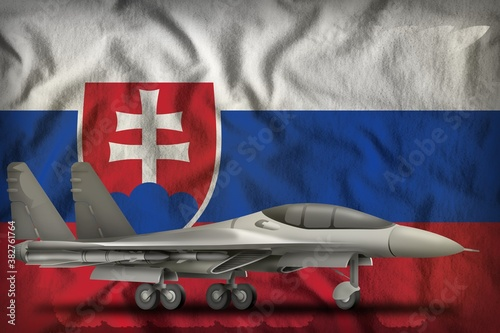 fighter, interceptor on the Slovakia state flag background Fototapeta