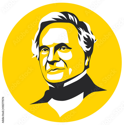 west nusa tenggara, Indonesia- february 21, 2020: charles babbage vector sketch illustration, isolated style, eps 8 Canvas Print