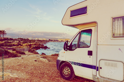 Obraz Motor home on sea shore, Spain - fototapety do salonu