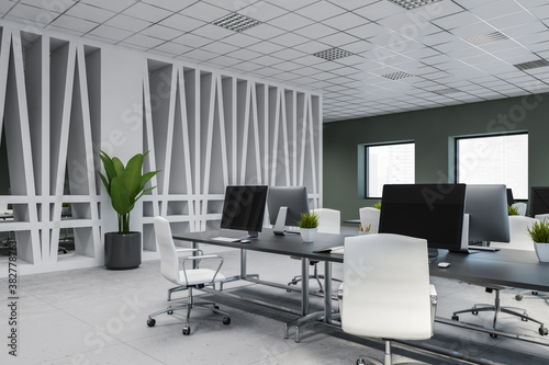 Modern white and gray open space office corner