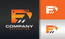 Excavator Letter E Logo