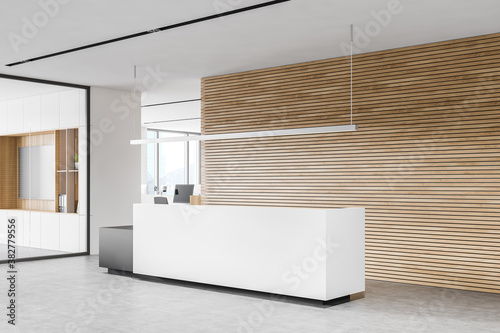 Modern white and wooden office waiting room corner with reception Fototapet
