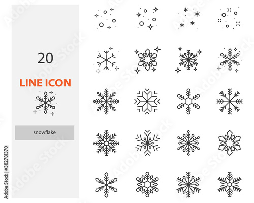 Set of snowflake thin line icons, winter season