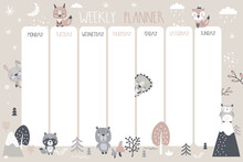 Weekly Planner,daily Planner With Cute Wild Animals. Adorable Forest Animals, Plants. Printable Poster Or Banner. Scandinavian Style