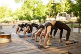 Women in sportswear on group yoga training
