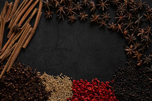 Spices On A Dark Background Co...