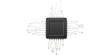 Black Computer Chip Isolated On White Background