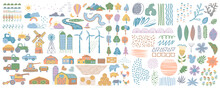 Cute Farm Set. Farm Drawings Collection. Cute Set Of Village Life And Objects For A Poster, Banner Or Postcard, Freehand Drawings Of Animals, Trees, Traсtor And House.