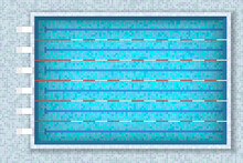 Olympic Swimming Pool With Clean Transparent Blue Water. Top View. Paths For Dip In The Pool. The Texture Of The Water And Ceramic Lining Of The Pool, Flat Lay.