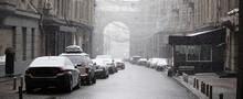 Wet Snow With Rain On A City Street