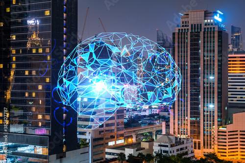 Human brain hologram, aerial panoramic city view of Bangkok at night Wallpaper Mural