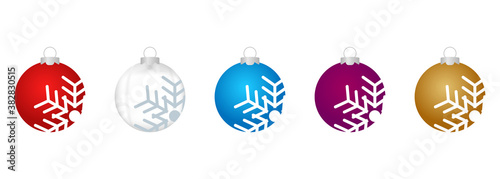 Photo vector set of images of realistic christmas balls with snowflake