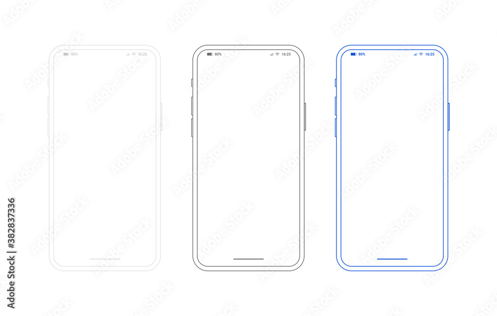 Fototapeta Smartphone outline mockup, different colors set. Generic mobile phone in front view and empty screen for ur app design or web site presentation. Black, white and blue template in line style.