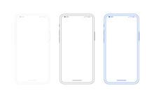 Smartphone Outline Mockup, Dif...