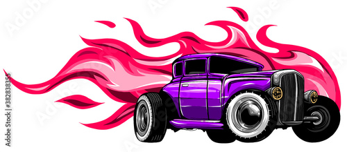 vintage car, hot rod garage, hotrods car,old school car. vector Fototapet