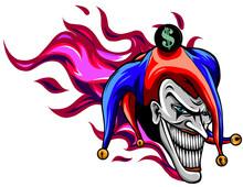 Evil Joker With Flames Vector ...