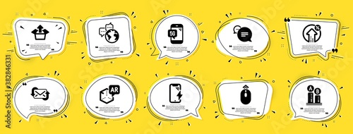 Obraz Technology icons set. Speech bubble offer banners. Yellow coupon badge. Included icon as Text message, Refresh mail, Loan percent signs. Augmented reality, Ab testing, Swipe up symbols. Vector - fototapety do salonu