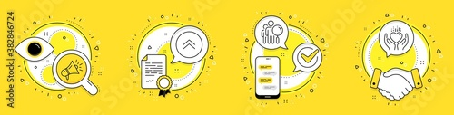 Fototapety, obrazy: Search people, Megaphone and Swipe up line icons set. Licence, cell phone and deal vector icons. Hold heart sign. Find employee, Brand advertisement, Scroll screen. Care love. Business set. Vector