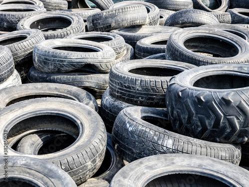 Fotografiet Large pile of tires dump