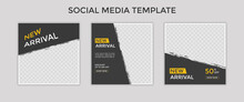 Set Of Editable Square Banner Template For Ad. Suitable For Social Media Post For Promotion.