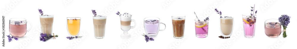 Fototapeta Set of different drinks with lavender on white background. Banner design