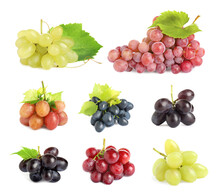 Set Of Fresh Grapes On White B...