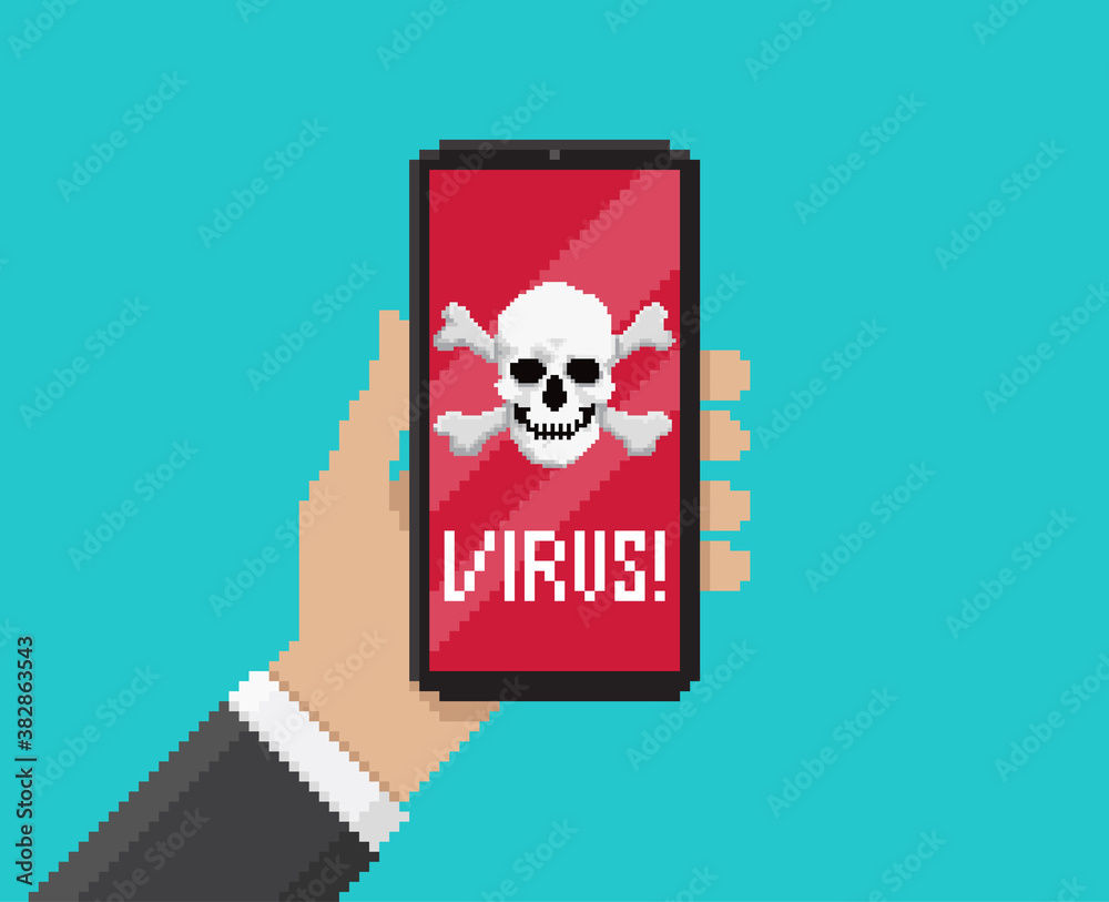 Fototapeta Pixel art, vector illustration of hand holding mobile with virus notification on screen
