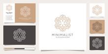 Nature Minimalist Simple And Elegant Floral Monogram Template, Elegant Line Art Logo Design,business Card Vector Illustration.Premium Vector